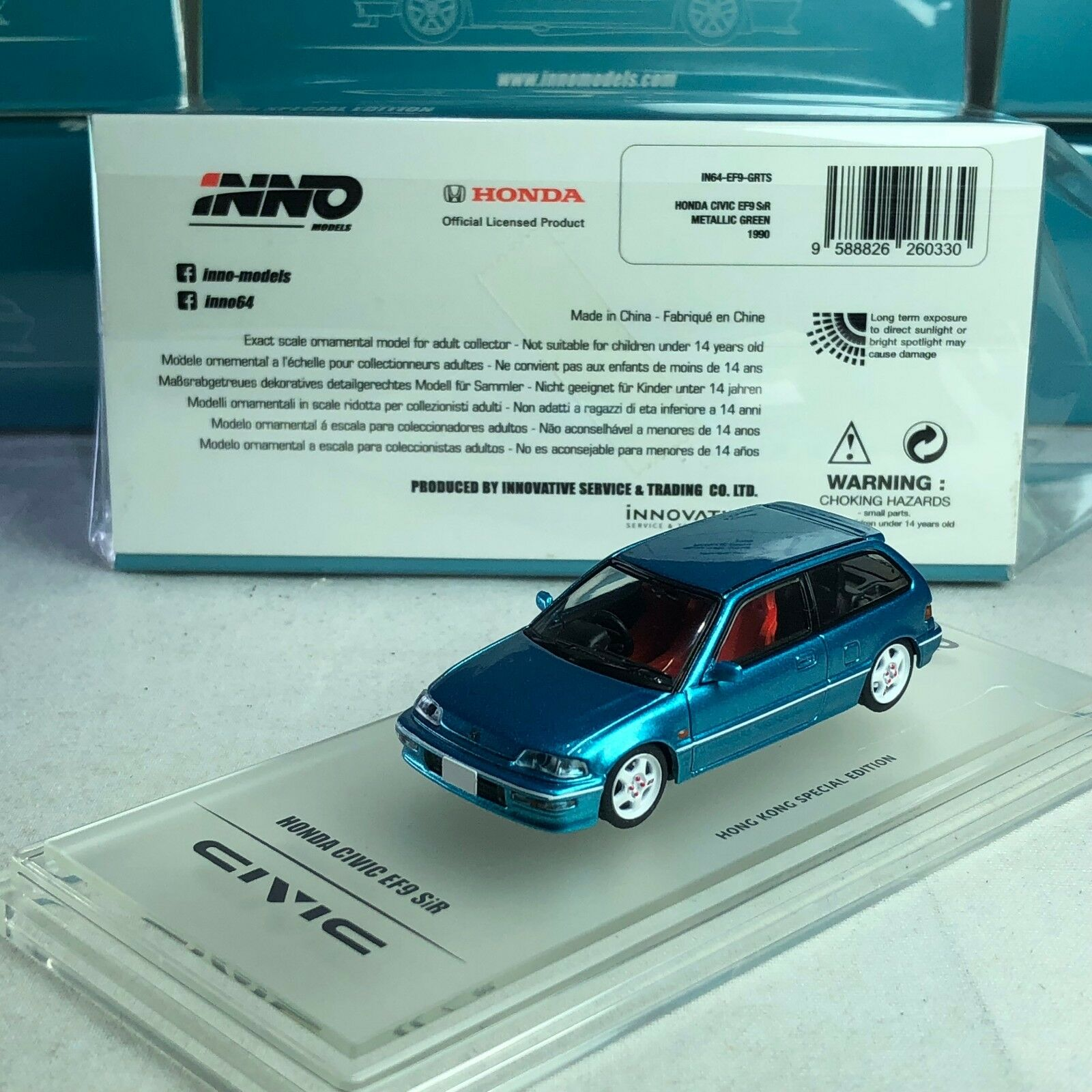1 64 INNO64 Honda Civic EF9 SiR Grün Met Edition special for TINY available