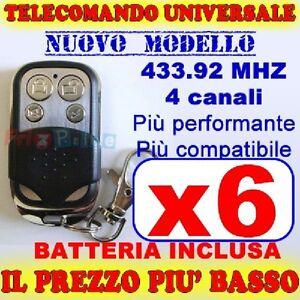 UNIVERSALE-433-TELECOMANDO-MHZ-CANCELLO-6-GARAGE-PER-FAAC-CAME-FADINI-ue