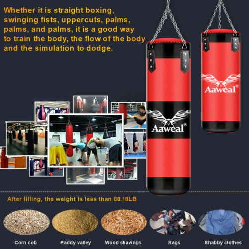 1+9 Free gloves Kids UnFilled Punch Bag Set Boxing Gloves MMA Training Kick UK