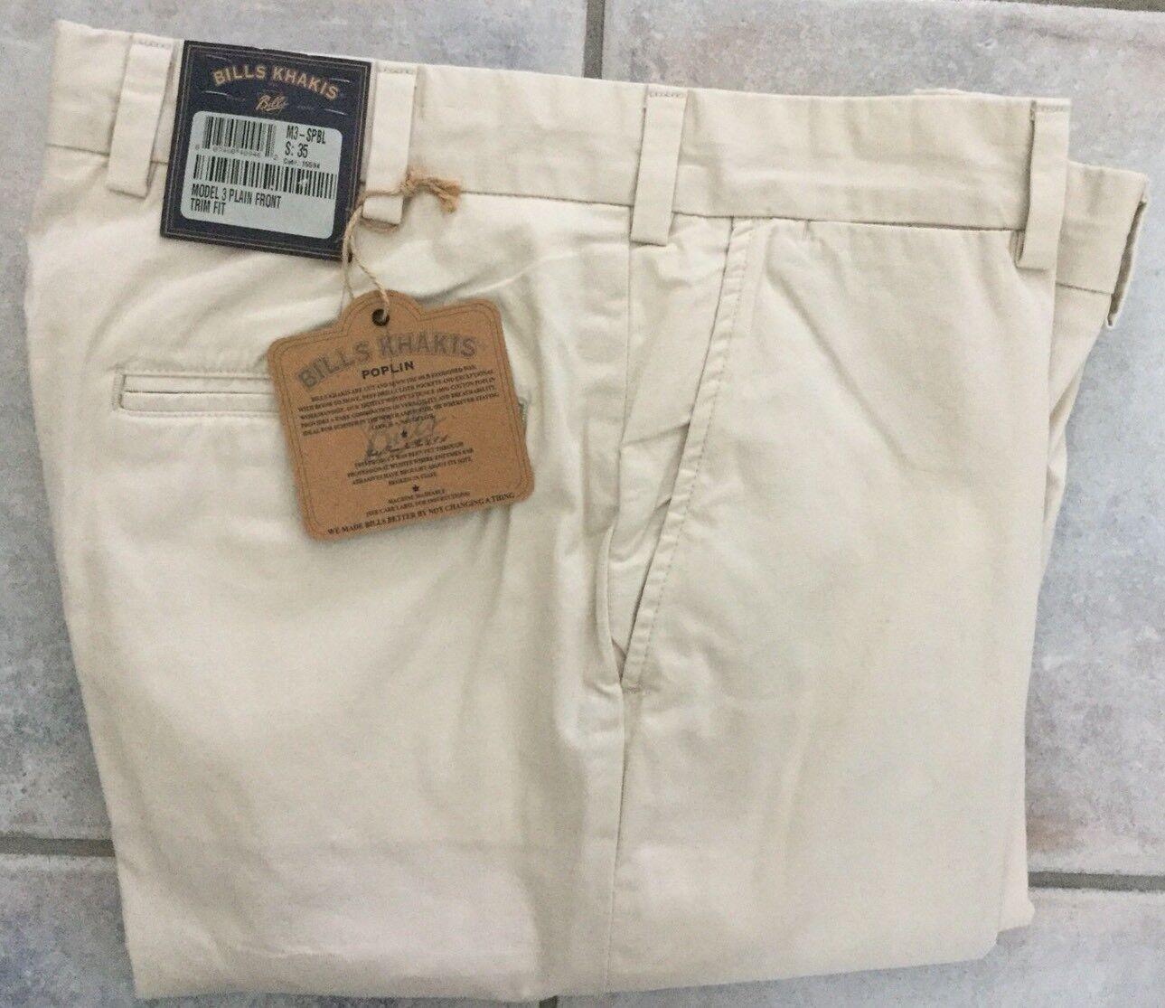 BRAND NEW -Bills khakis M3-SPBL Size 35 PLAIN FRONT TRIM FIT STONE POPLIN