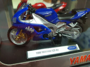 Moto-1999-Yamaha-YZF-R1-Blu-Scala-1-18-Die-Cast-Welly-Nuovo