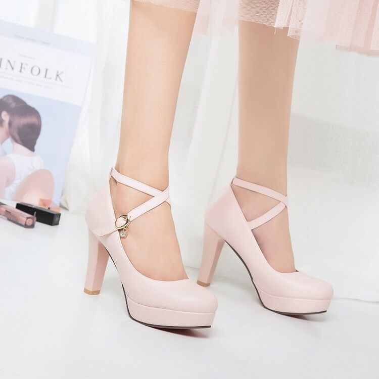 Womens Round Toe Buckle Platform Solid Pumps High Heels Party Dress Prom shoes