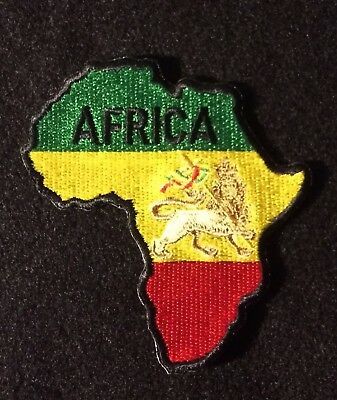"Rasta Africa Map Embroidered Patches 3.25/""x3/"" White"
