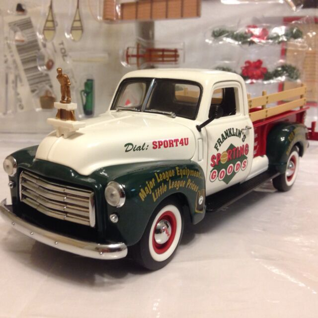 1/24 Franklin Mint Green White 1950 GMC Longbed Pickup 2000 Christmas Truck