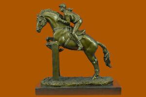 Horse Racing Fan Thoroughbred Female Jockey Racetrack Bronze Statue Figurine Art