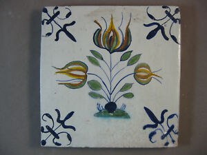 Free Shipping Nr.3 Antique Dutch Polychrome Tile Flower Rare 17th Decorative Arts