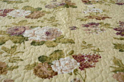 DaDa Bedding Roses Garden Floral Brown Yellow Quilted Coverlet Bedspread Set
