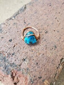 handmade unique womens bronze wire ring with ocean blue stone