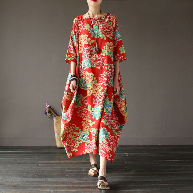 Ethnic Women Loose Floral Retro Cotton Linen Tunic Robe Summer Comfy Dress Maxi