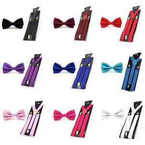 Mens-Solid-Color-Pre-tied-Stain-Bow-Bowtie-Stretch-Y-Shape-Suspenders-Braces-Set