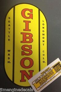Gibson-Tractor-Wisconsin-Engine-Decal-With-United-Specialties-Oil-Bath-Decal