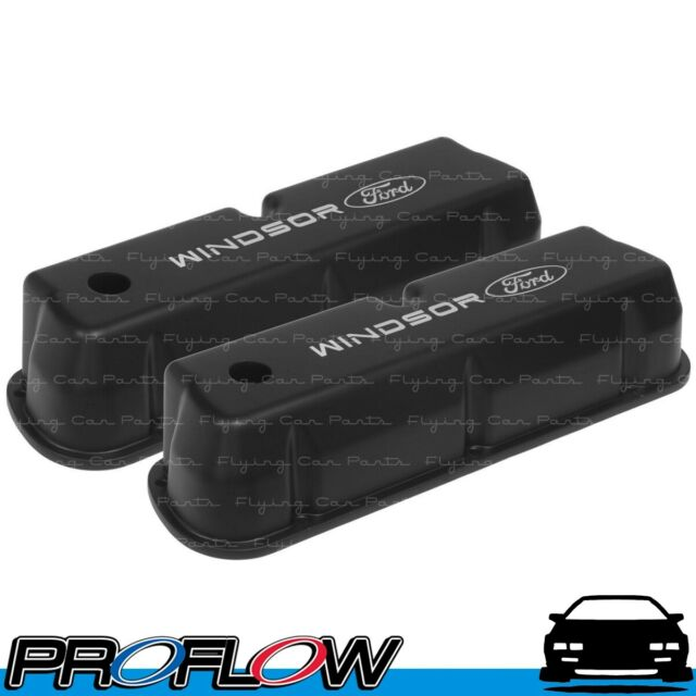 PROFLOW Ford WIndsor 289 302 351 Tall Black Cast Valve Covers