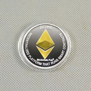 Nice Commemorative Collectible Golden Silver Iron ETH Ethereum Miner Coin XNB15