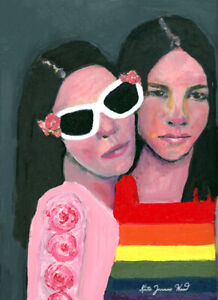 Original Gay Lesbian Women LGBTQ Couple in Love Painting Katie Jeanne Wood