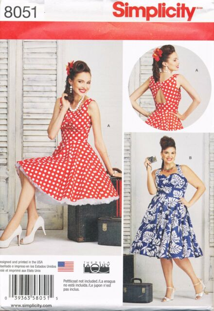 Simplicity Sewing Pattern 8051 Womens 20w 28w Retro 1950s Style