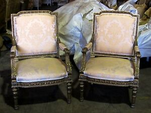 Details About 19th C. Spectacular Pair Of Louis XVI Empire Gilded Chairs