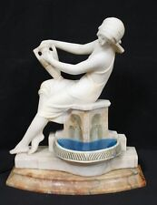 Art Nouveau Marble & Alabaster Statue & Pool Lamp