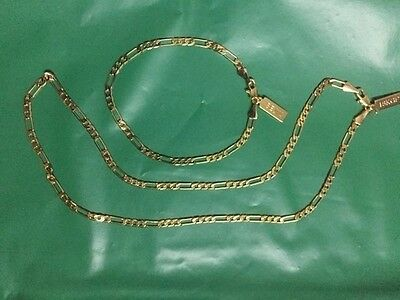 "Polymer Protected 18K Gold Plated Figaro 3mm16/"" Necklace /& 7/"" Bracelet Set Gift"