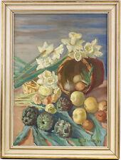Peinture à l'huile signé (I). Marvilo Fleurs et nature morte fruits 7860181