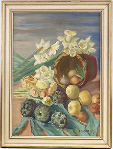 8660069 Ölgemälde signiert I. Marvilo Blumen Früchte-Stillleben Artischocken