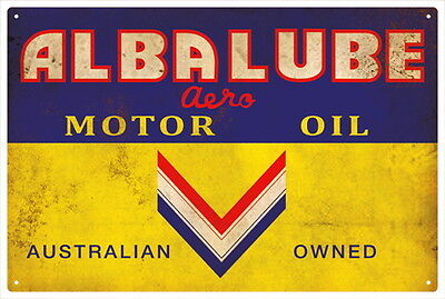 ALBA LUBE MOTOR OIL Vintage Tin Sign
