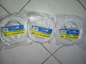 3-Stk-Verlaengerungskabel-Schuko-3-polig-3m-weiss-NEU-Strom-Verlaengerung