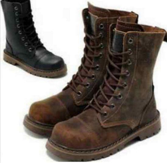 Chaussures femme en cuir Combat Punk Militaire Combat Outdoor Motocycle Cheville Bottes Chaussures