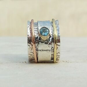 Blue-Topaz-Ring-925-Sterling-Silver-Spinner-Ring-Meditation-Handmade-Jewelry-A61