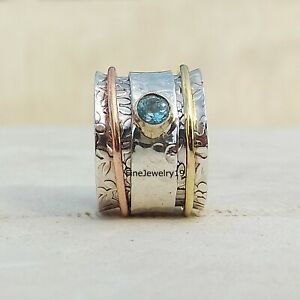 Blue-Topaz-925-Sterling-Silver-Spinner-Ring-Meditation-Statement-Jewelry-A61