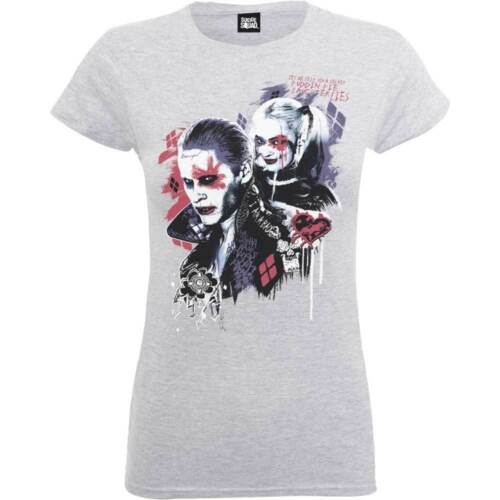 Harley/'s Pudding Suicide Squad Batman Grey Womens Girls T Shirt Quinn Official
