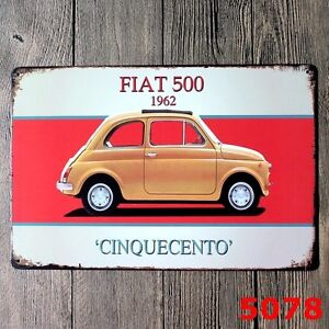 metal tin sign fiat 500 decor bar pub home vintage retro poster cafe art. Black Bedroom Furniture Sets. Home Design Ideas