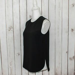 VINCE-Women-039-s-Zip-Shoulder-Tank-Blouse-Solid-Black-Polyester-Size-Small-195