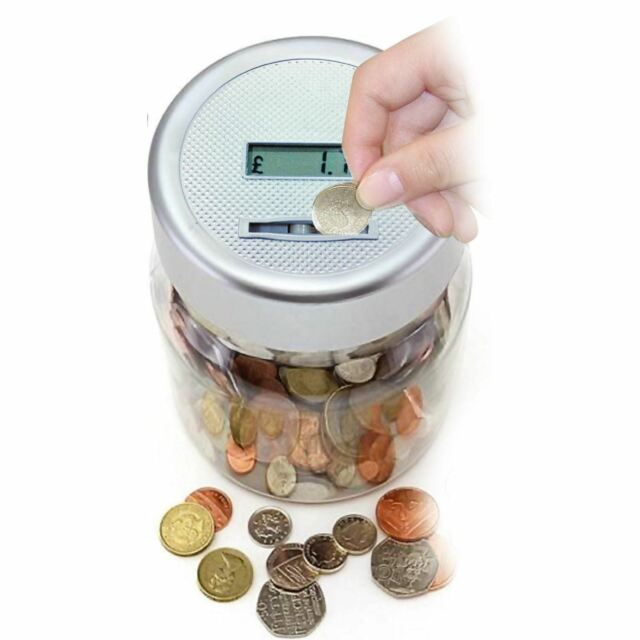 Digital Lcd Money Counting Coin Counter Jar Money Box Counts Coins Silver