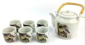 Japanese-Stoneware-Tea-Set-Pot-Lid-Owls-In-A-Tree-6-Cups-Rattan-Handle-Brown-Vtg