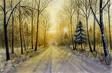 """Watercolor Original 5,3/4"""" x 3,3/4"""" Painting a Day Winter by Elena Mezhibovsky"""