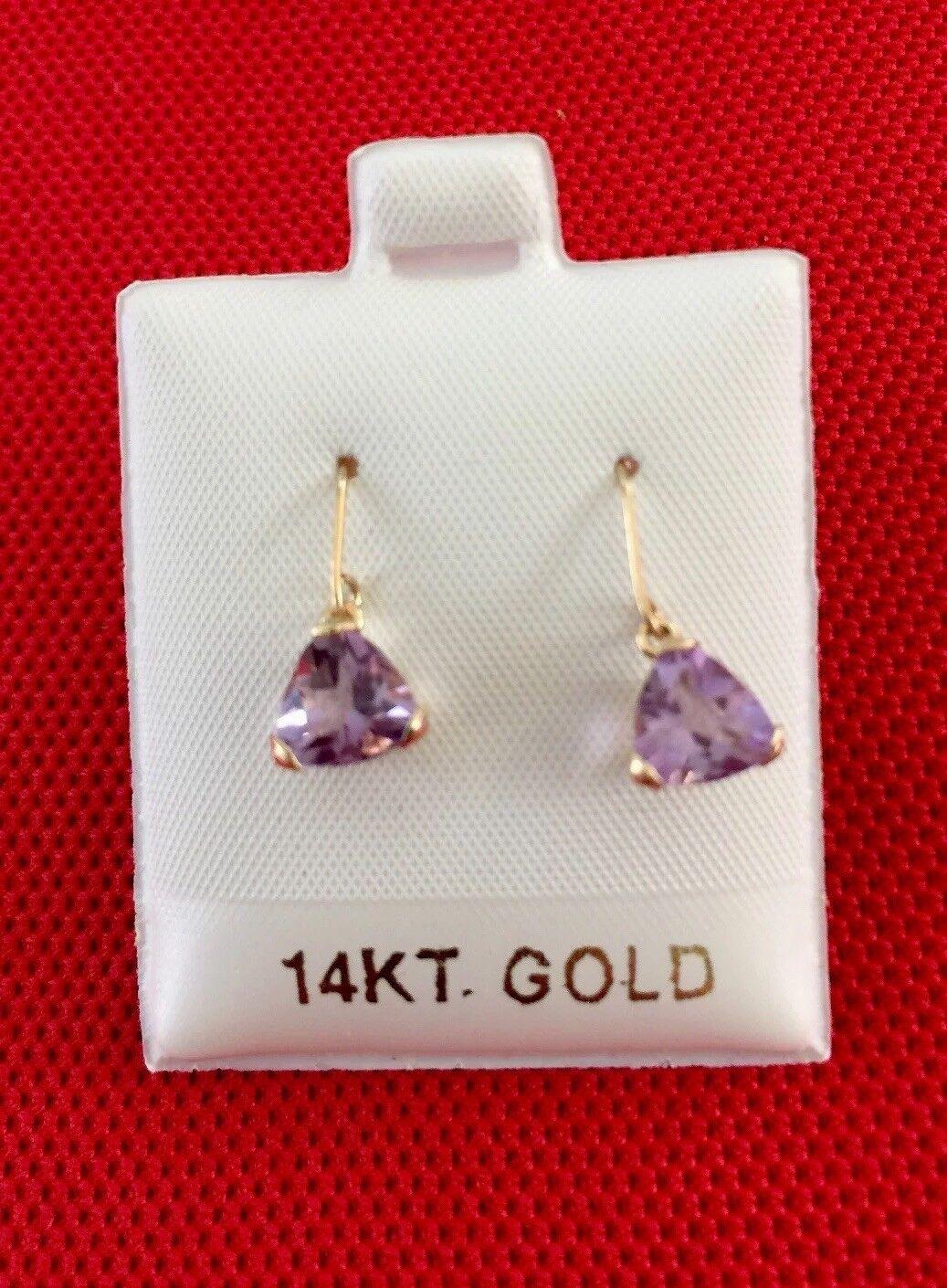 14 K Solid Yellow gold Purple Amethyst Dangling Earrings 1.1 grams
