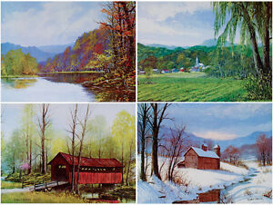 Vintage-1970s-FOUR-SEASONS-Art-Prints-W-HAROLD-HANCOCK-Brown-County-INDIANA