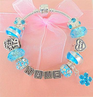 PERSONALISE GIRLS BIRTHDAY SWEET 16 CHARM BRACELET ANY NAME GIFT BOXED