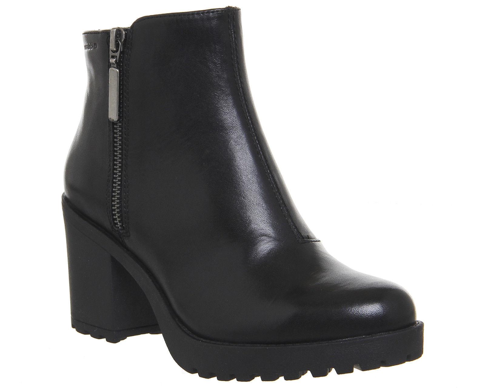 damen Vagabond Grace Side Zip Stiefel schwarz LEATHER Stiefel Größe-EUR 38