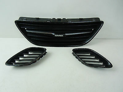 2006 SAAB 93 9-3 FRONT LEFT CENTRE AND RIGHT SIDE BLACK BUMPER GRILLS 12787224