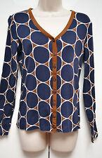 Boden Ladies Cardigan 100% Cotton UK 12 / EU 40 Dark Blue Brown Beige Geometric