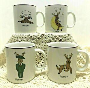 Set-Of-4-Reindeer-Coffee-Mugs-Blitzen-Comet-Donner-Prancer-Christmas