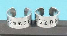 Bonnie and Clyde Rings Set - Adjustable Aluminum -Handstamped Best Friend Couple