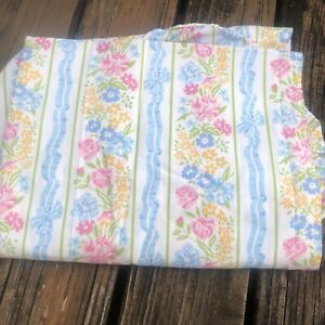 Vtg-Lady-Pepperell-Pink-Blue-Floral-Twin-Fitted-Sheet-60s-70s-Green-Yellow-Bows