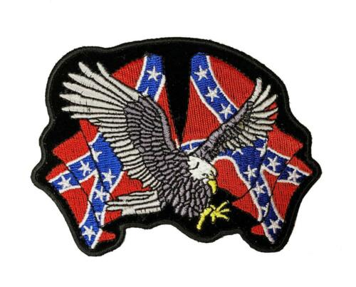 Iron on Sew on 4 inch Brown Eagle  Flag Biker MC Patch