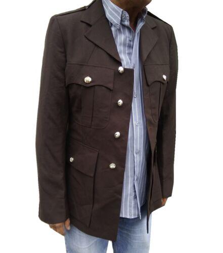 MENS BROWN VINTAGE-COAT BLAZER BAND DRESS JACKET UNIFORM MILTARY TUNIC FESTIVALS