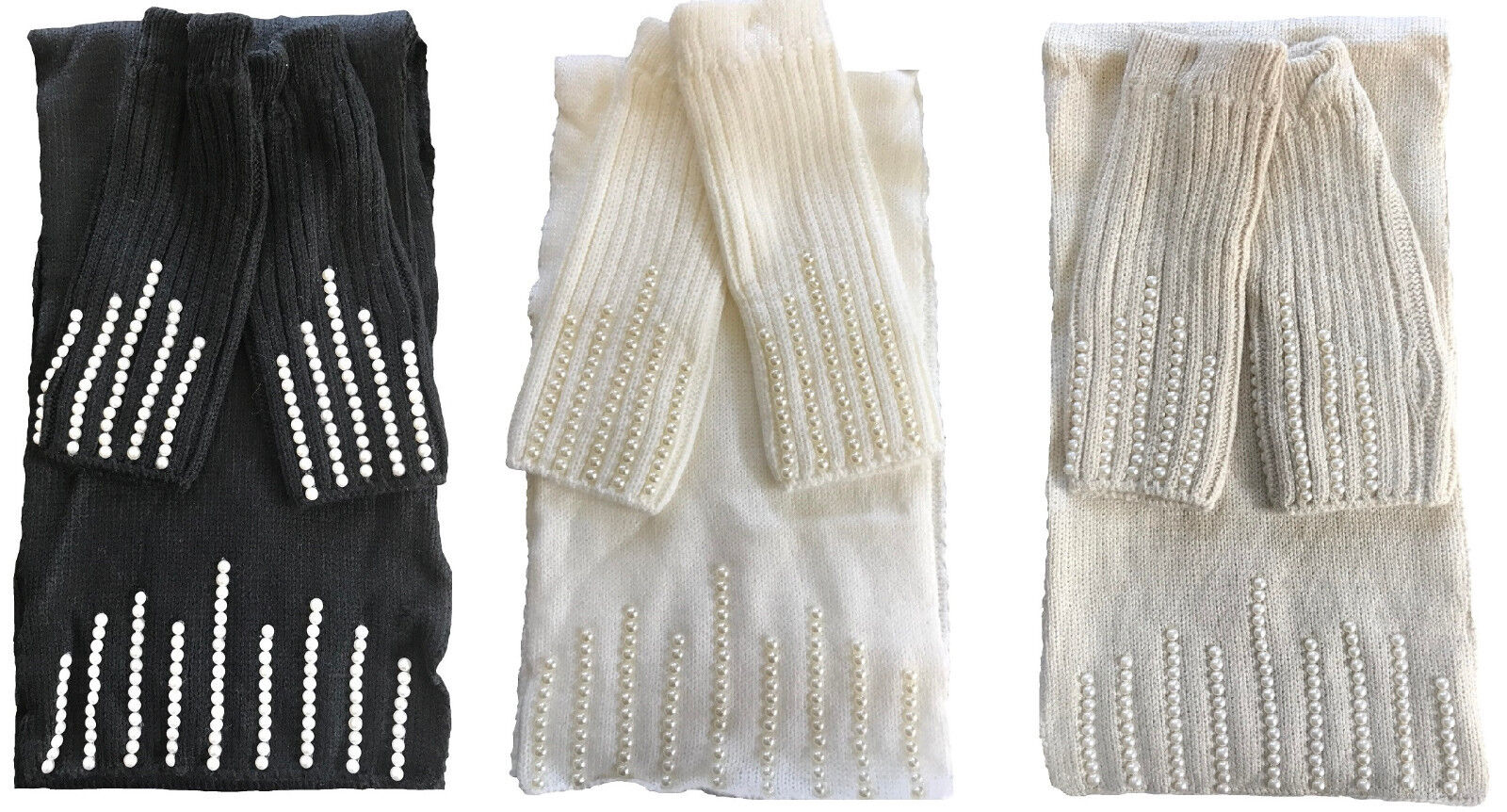 Scarf and Fingerless Gloves Set with Pearl Decoration