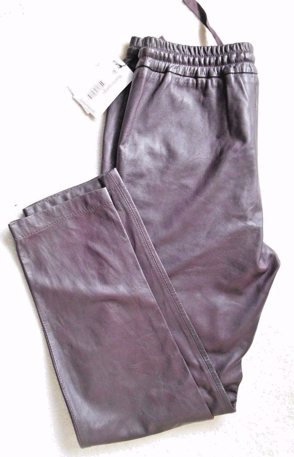 Leon & Harper Aubergine Leather Ladies Trouser - Size L