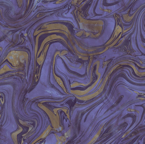 Hand Abstract Marble Purple Wallpaper Black Gold Shimmer Bold