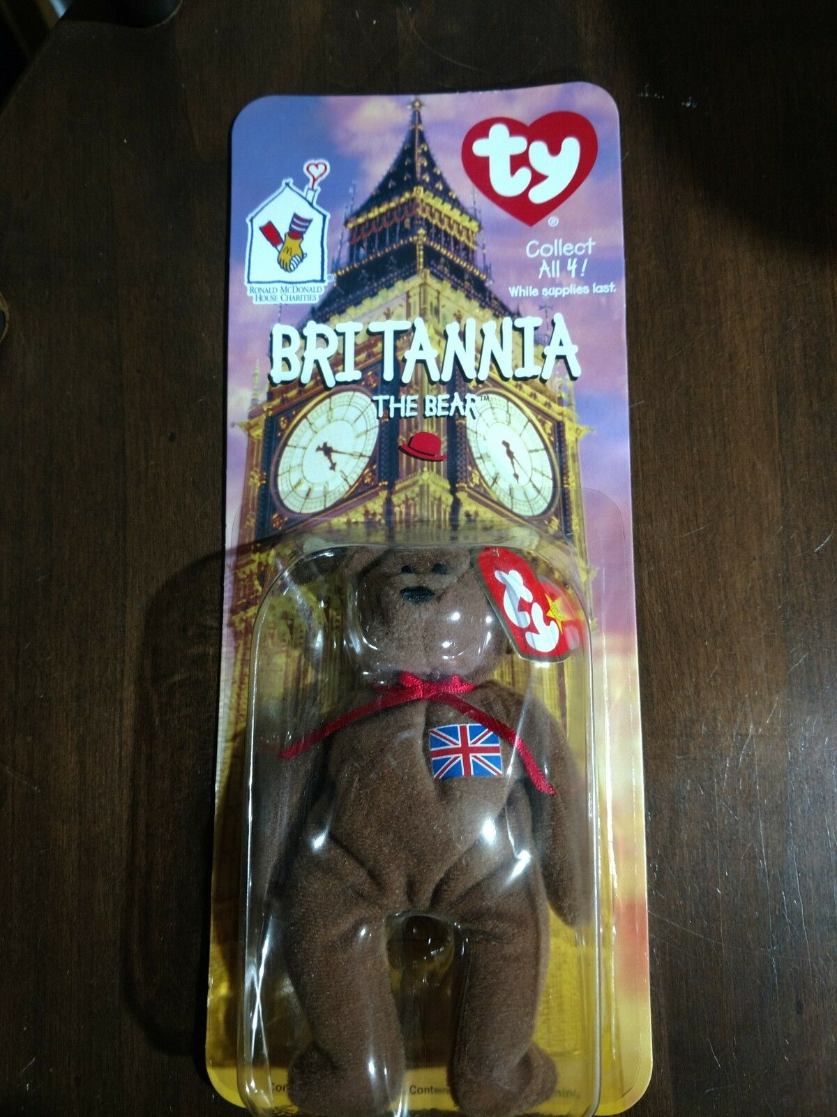 Mcdonalds TY Beanie Baby Britannia The Bear RARE WITH ERRORS